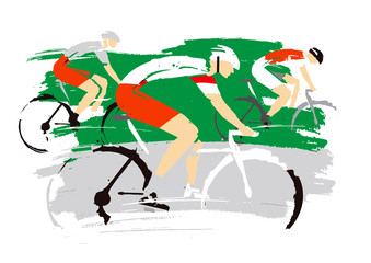 Road cycling racers, .  Expressive stylized drawing of road cyclists, imitating drawing ink and brush. Vector available.