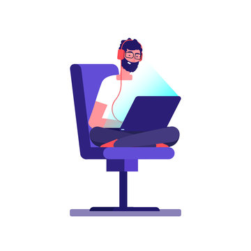 Young freelancer programmer coding with laptop. Vector geek character isolated on white background. Illustration of programmer coding, freelancer professional