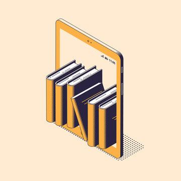Online reading or education isometric vector illustration - stack of paper books standing inside of digital tablet.