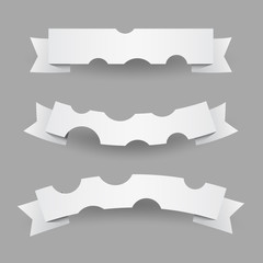 Set of White Paper Cut Ribbons or Flags