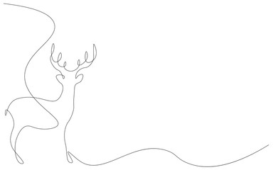 Deer animal line draw vector illustration