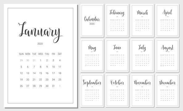 Vector Calendar Planner for 2020 Year. Handwritten lettering. Set of 12 Months. Week Starts Sunday. Stationery Design for Printable.