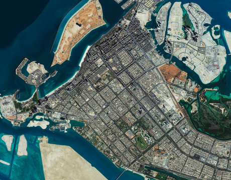 High resolution Satellite image of Abu Dhabi, UAE (Isolated imagery of UAE. Elements of this image furnished by NASA)
