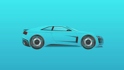 Simple design super car. Picture realistic blue sport car. Vector illustration.