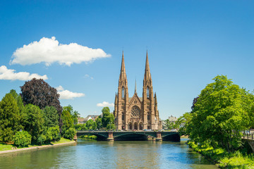 Cityscape of Strasbourg and the Reformed Church Saint Paul, France