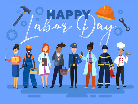 Happy Labor Day card or poster design with a group of multiracial people from the community in different occupations standing in a line below text on a blue background, colorful vector illustration