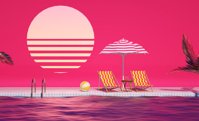 3d lounge sunbed idea Swimming Pool party Mood Holidays background composition Creative design backdrop Pink Evening Tropical flowers and umbrellas