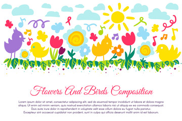 Birds and flowers flat banner with copyspace