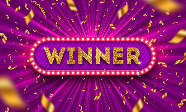 Winner retro signboard and golden foil confetti against a light burst background. Vector illustration. Winner light bulb frame with glitter gold letters. Winners logo.