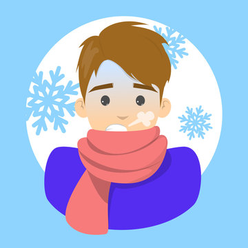 Man with a chill. Symptom of disease. Guy feel cold and shiver