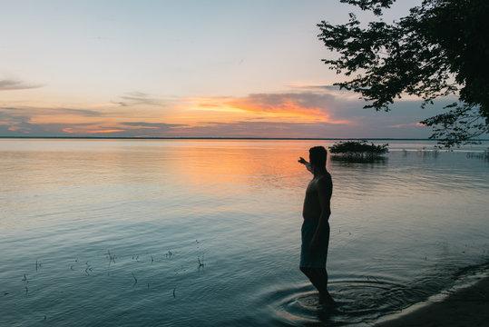 Sunset at a beach in Alter do Chão, Pará, Brazil