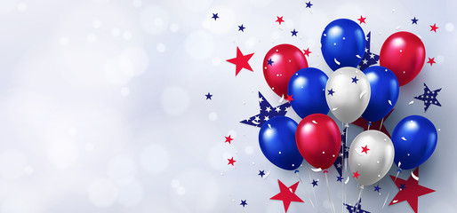 Festive design with helium balloons in national colors of the american flag and with pattern of stars on white background. USA greeting banner for sale, discount, advertisement, web. Place for text