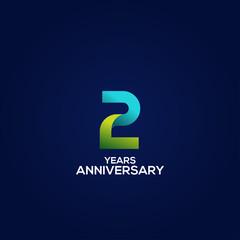 Fototapeta 2 Gradient Anniversary Number Vector Design For Celebrate obraz