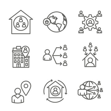 In-Company and Outsource Icon Set with headquarters, and freelancers, etc