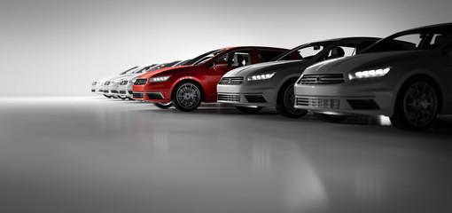 Compact cars fleet in the studio garage