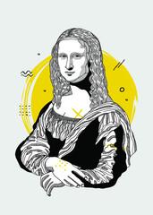 Mona Lisa - Gioconda by Leonardo da Vinci. Creative geometric style.