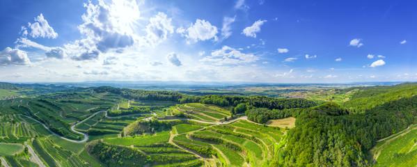 aerial view vineyard scenery at Kaiserstuhl Germany Fototapete