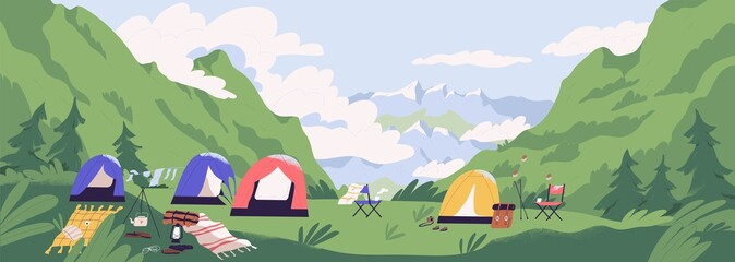 Foto auf Acrylglas Olivgrun Touristic camp or campground with tents and campfire. Landscape with forest campsite against mountains in background. Location for adventure tourism, travel, backpacking. Flat vector illustration.