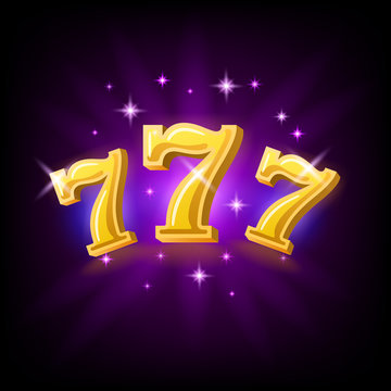 Lucky seven on slot machine, icon for online casino or mobile game, fortune chance symbol, vector illustration with sparkles on dark purple background.