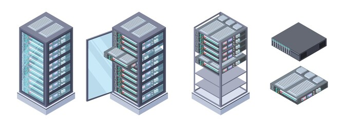 Isometric servers, data storages vector. 3D computer equipment isolated on white background. Storage database, equipment server network, big data safe illustration Wall mural