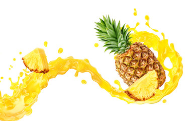 Fresh ripe pineapple, slice and pineapple juice 3D splash wave. Healthy food or tropical fruit drink liquid ad label design. Tasty pineapple juice or smoothie splash isolated, vitamin cocktail concept