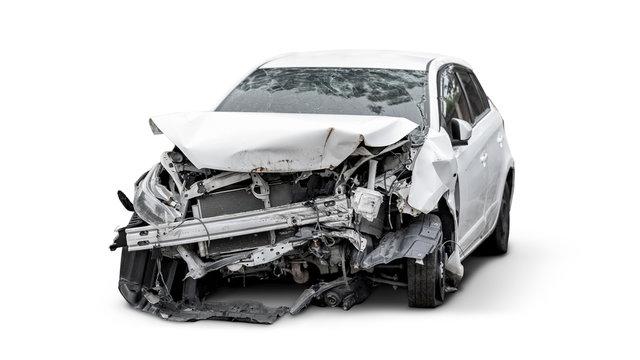carcass of crashed car, Car insurance concept