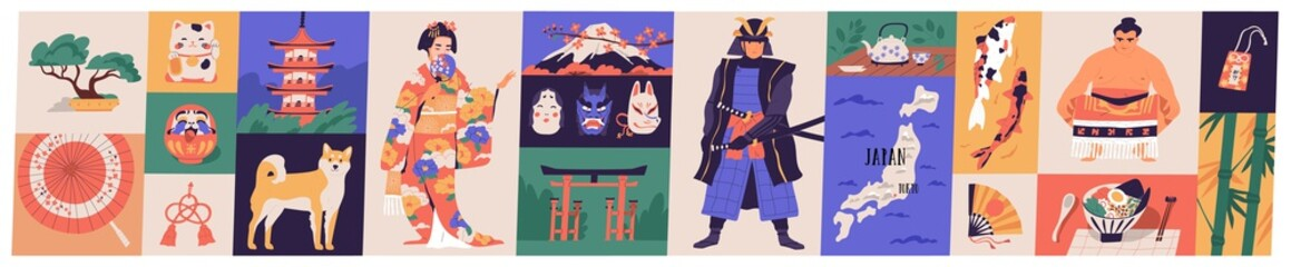 Bundle of traditional symbols of Japan - pagoda, geisha in kimono, koi fish, wagasa umbrella, bonsai tree, mount Fuji, maneki-neko. Set of Japanese design elements. Flat cartoon vector illustration.