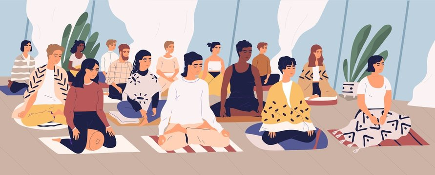 Group of young men and women sitting on floor, meditating and performing breath control exercise. Yoga retreat, spiritual practice, Vipassana buddhist meditation. Flat cartoon vector illustration.