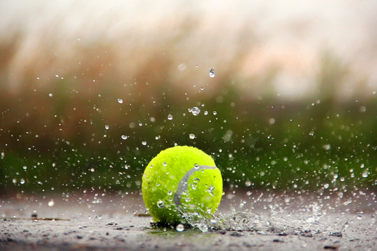 Tennis ball in the water. Tennis Ball and Water Drops