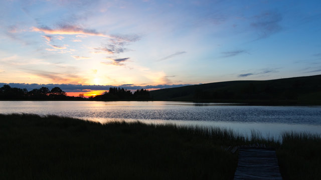 coucher de soleil dans le cantal