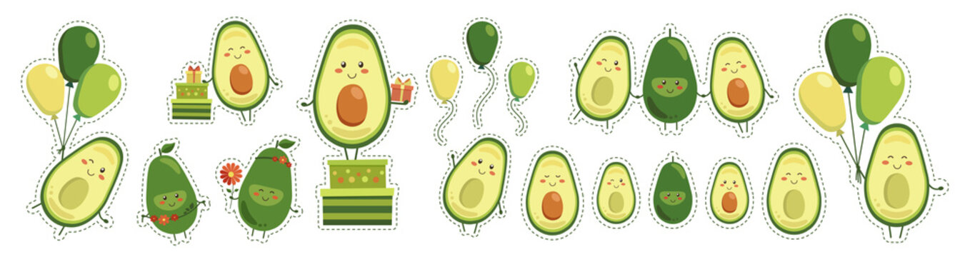 Big sticker set of vector cute smiling avocado heroes isolated on white background. Collection of fruit characters with flying yellow green balloons, gifts in boxes, and red flowers. Kawaii style.