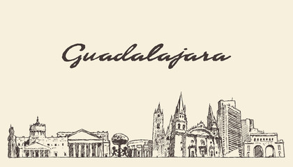 Wall Mural - Guadalajara skyline Jalisco Mexico a vector sketch