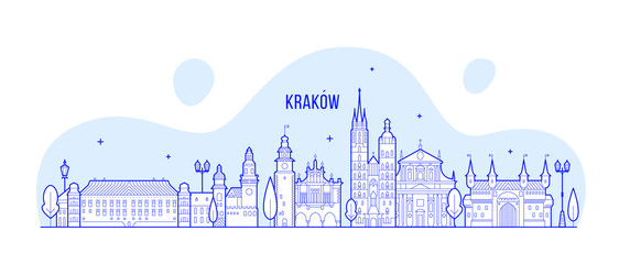 Wall Mural - Krakow skyline Poland city buildings vector linear