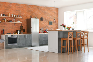 Interior of modern comfortable kitchen