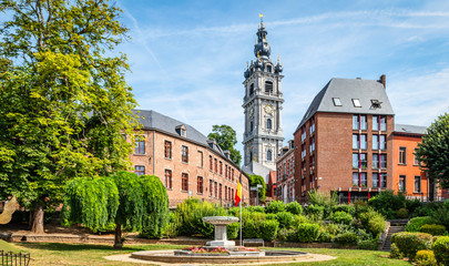 Mons, Wallonia, Belgium. Panoramic landscape view with belfry tower in city centre. Fototapete