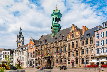 Fotomurales - Main square with City Hall in Mons, Belgium.