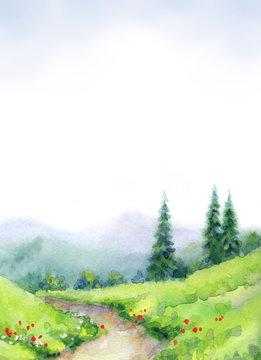 Watercolor landscape. Mountain path among fir trees