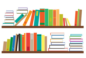 Bookshelf. Shelf with various books. Vector illustration.
