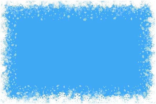 Merry Christmas Happy New Year border with white snowflakes winter background