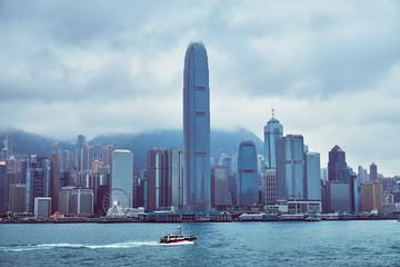 Spoed Foto op Canvas Abu Dhabi Hong Kong Cityscape and Victoria Harbor
