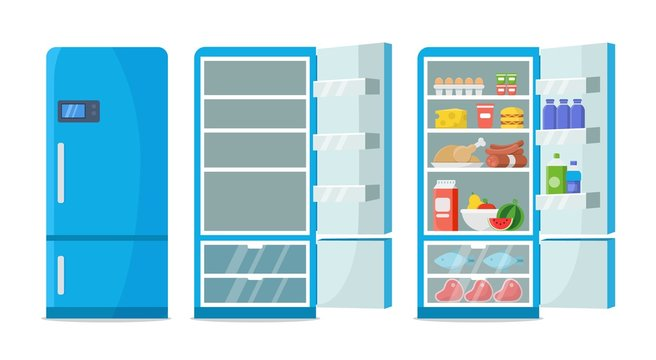Flat fridge vector. Closed and open empty refrigerator. Blue fridge with healthy food, water, meet, vegetables. Illustration fridge with food or shelf empty