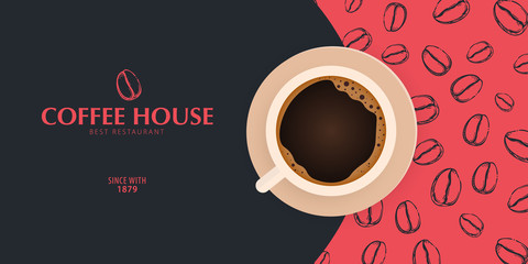 Cup of Coffee. Sketch banner with coffee beans and leaves on colorful background for poster or another template design. Fototapete