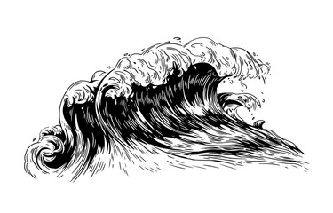 Monochrome drawing of sea or ocean wave with foaming crest. Oceanic storm, tide, seawave hand drawn with black contour lines on white background. Realistic vector illustration in vintage style. Wall mural