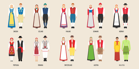 National costumes of Sweden, Iceland, Findland, Denmark, Norway, Portugal, Austrai, Romania, Switzerland, Malaysia. Vector illustration