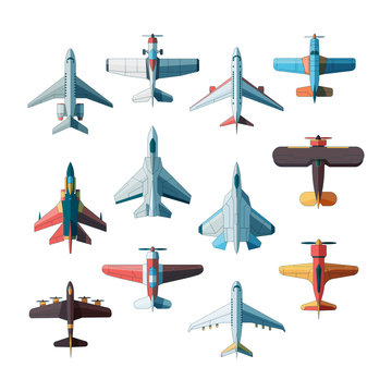 Planes top view. Jet military aircraft vector flat pictures isolated. Illustration aircraft and jet military, plane fighter, transportation aeroplane