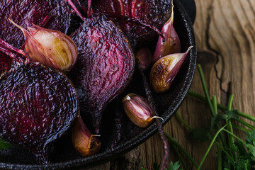 Homegrown roasted beets and garlic, plant based food, local produce