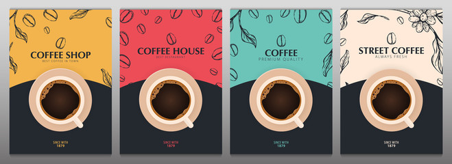 Cup of Coffee. Set of Sketch banners with coffee beans and leaves on colorful background for poster or another template design. Wall mural
