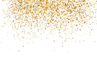 Gold sparkles on white background.  Wall mural