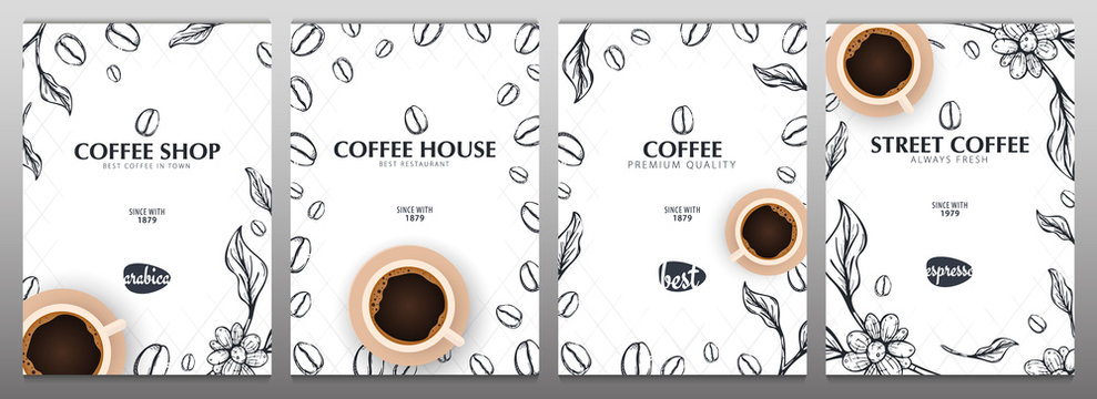 Cup of Coffee. Set of Sketch banners with coffee beans and leaves for poster or another template design.