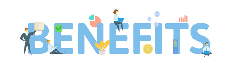 BENEFITS. Concept with people, letters and icons. Colored flat vector illustration. Isolated on white background.
